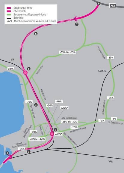 Die favorisierte Variante Stadttunnel Mitte führt vom Seedamm bis Hüllistein in Rüti mit Anschlüssen im Tüchelweier und in Kempraten.