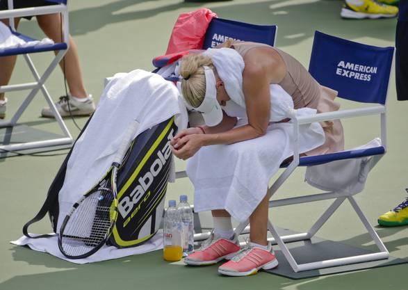 Auch Wozniacki machte die New Yorker Sommerhitze zu schaffen.