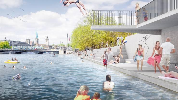 Freier Zugang zum Wasser: So stellen sich Nicolaj Bechtel und Stefan Wülser die längst fällige Neugestaltung des Seeufers in Zürich vor.zvg