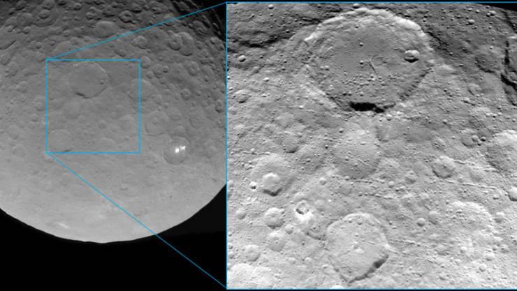 Die kleinen Kraterketten auf dem kugelrunden Zwergplanten Ceres stammen vermutlich von heftigen Einschlägen.