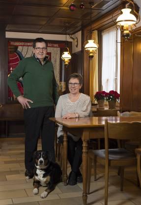 Markus und Rosmarie Friedli im Restaurant Täfere im Badener Ortsteil Dättwil. Das Foto entstand 2013 anlässlich ihres 30-Jahre-Jubiläums als Täfere-Wirte.