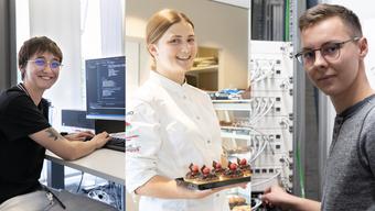 Michelle Schär ist Applikationsentwicklerin, Milena Herger hat eine Weiterbildung zur Confiseuse abgeschlossen und Linus Meyer ist Netzwerktechnologe.
