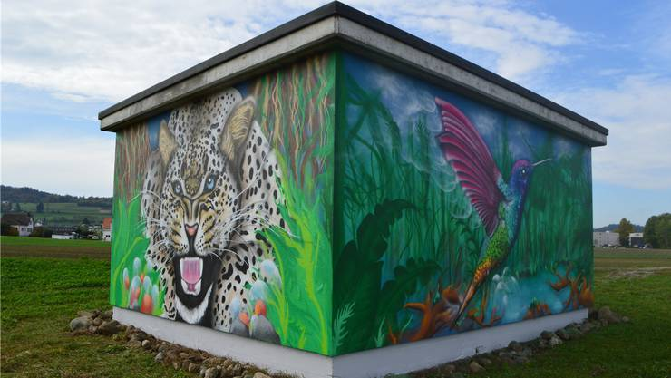 Das fertige Graffiti gibt es auf den Wänden des AEW-Elektrizitätsgebäudes nahe des Bahnhofs Dottikon-Dintikon zu sehen.