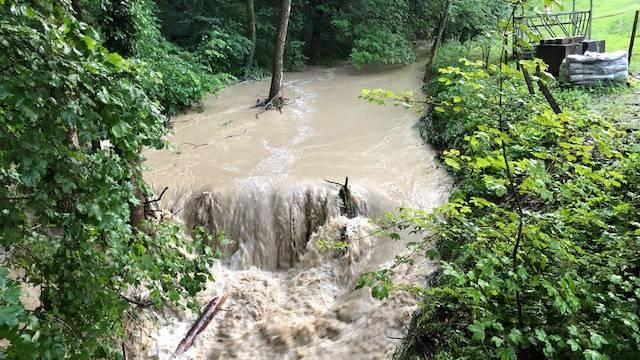 Die Gemeinde Sins hatte mit den Wassermassen zu kämpfen.
