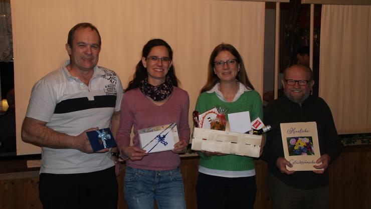 Die Geehrten   v.l.n.r. Sepp Schmid, Rosi Käser, Erika Rehmann und Edi Näf.