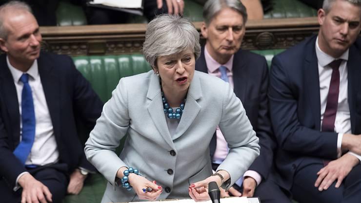 Die britische Premierministerin Theresa May bei ihrer Rede am Dienstag im Parlament.