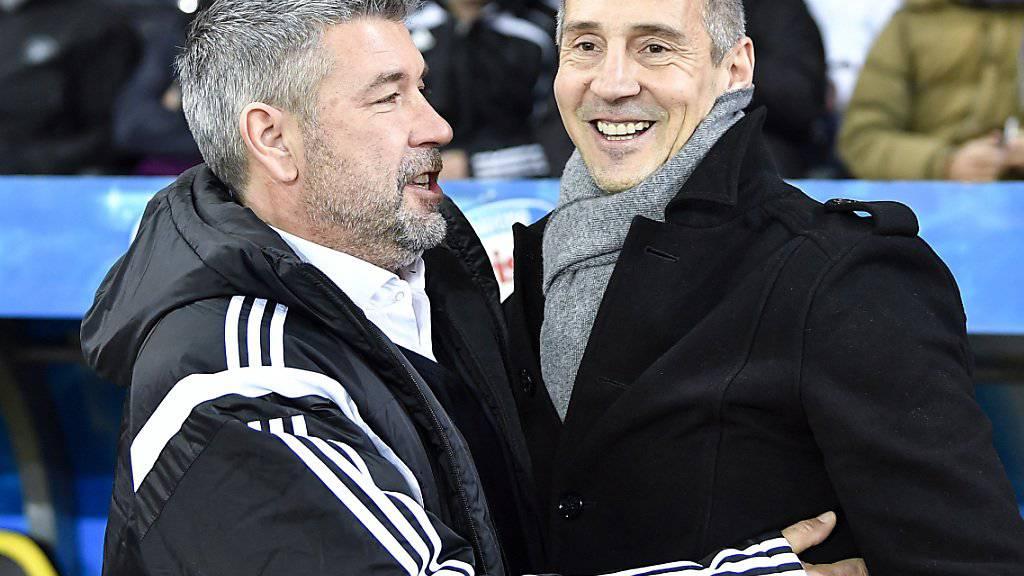 Wer kann am Sonntag lachen? Basels Trainer Urs Fischer (links) oder YB-Coach Adi Hütter?