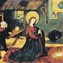 Die Geburt Jesu, Gemälde eines anonymen Meisters aus dem 15.Jahrhundert im Frauenkloster St.Andreas in Sarnen. Hinter dem sinnierenden Josef, der hier noch keinen Heiligenschein hat, stehen Ochs und Esel im Stall.