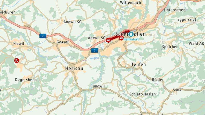 Bis zum Mittagessen dauert es etwas länger, wenn man auf der Stadtautobahn St.Gallen fährt.