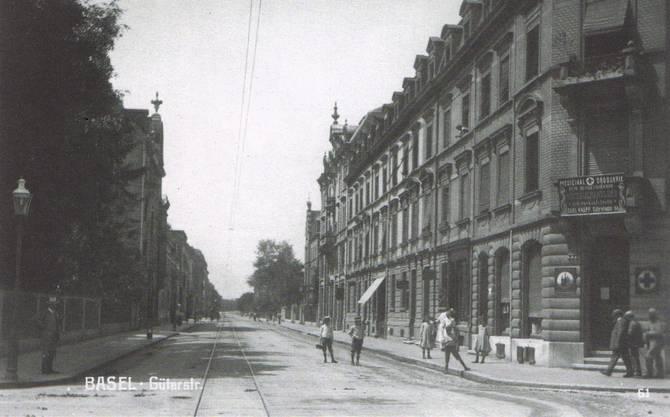 Die Güterstrasse auf Höhe Margarethenstrasse 1912.