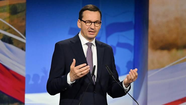 Laut dem polnischen Ministerpräsidenten Morawiecki hat die nationalkonservative Regierungspartei PiS vom Wähler einen starken Auftrag bekommen. (Archivbild)