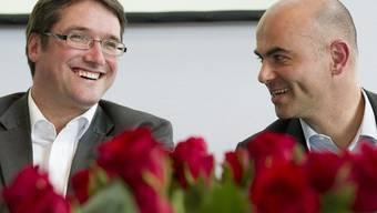 SP-Parteipräsident Christian Levrat und Bundesrat Alain Berset in La Chaux-de-Fonds