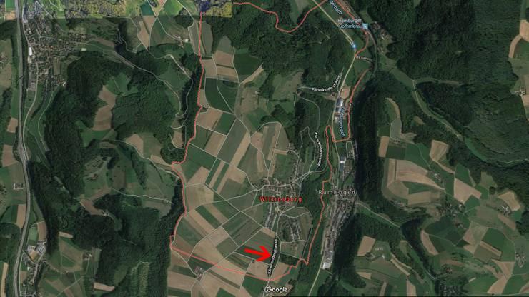 Der betroffene Waldstreifen im Gebiet Ägerte an der Kantonsstrasse zwischen Wittinsburg und Känerkinden.