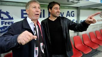 Präsident Alfred Schmid (l.) und René Weiler freuen sich über den Aufstieg in die Super League im Mai 2013.