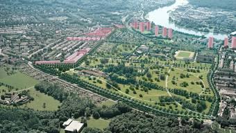 Dieses Projekt für das Areal zwischen Rankhof und Riehen im Osten der Stadt wurde vom Volk abgelehnt. Die Entwicklung des Areals ist damit aber nicht vom Tisch. zvg