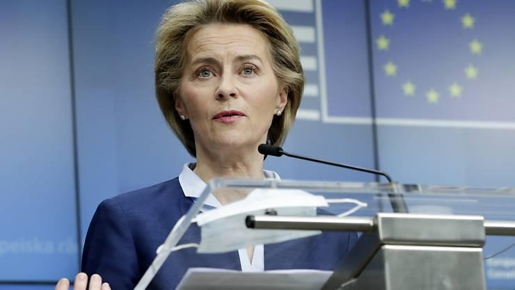 Ursula von der Leyen, Präsidentin der Europäischen Kommission. Foto: Olivier Hoslet/EPA Pool/AP/dpa
