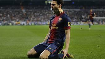 Barcelonas Fabgregas feiert seine 1:0-Führung gegen Real Madrid.
