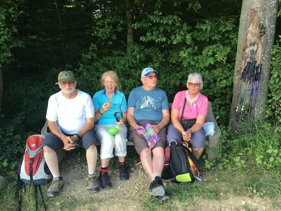 Leserwanderer aus Bubendorf und Zufikon geniessen den Ausblick. Recht haben sie.