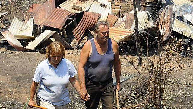 Bild der Zerstörung nach Bränden