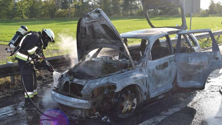 Der Fahrzeuglenker konnte das Auto verlassen und wurde nicht verletzt.