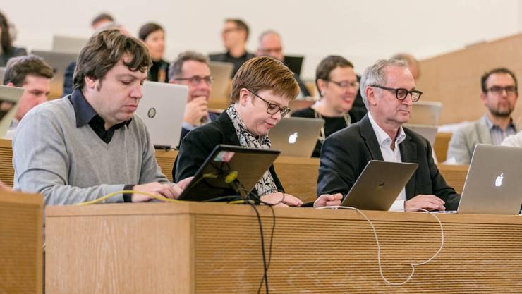 Der Grosse Rat widmet sich diversen Klima-Vorstössen an einer Sitzung im September. Hansjörg Wittwer (vorne rechts) beklagt gleichwohl eine «Diskussionsverweigerung». (Archivbild)