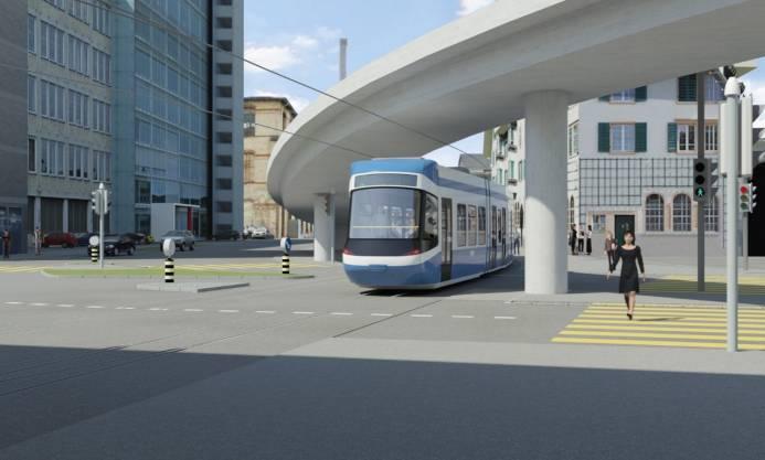 Visualisierung: Die Linie 8 fährt ab Escher-Wyss-Platz weiter Richtung Werdhölzli