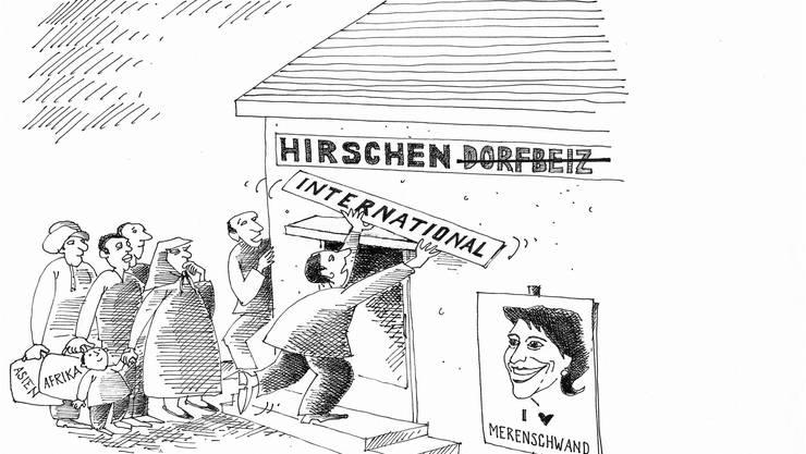 Karikatur zur Unterbringung von Asylbewerbern im ehemaligen «Hirschen» in Merenschwand