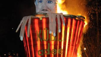 Das «Merci Hans Kübli»-Babeli brannte nur drei Minuten.