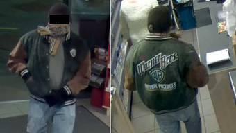 Eine Überwachungskamera filmte, als der Mann die Tankstelle überfiel.