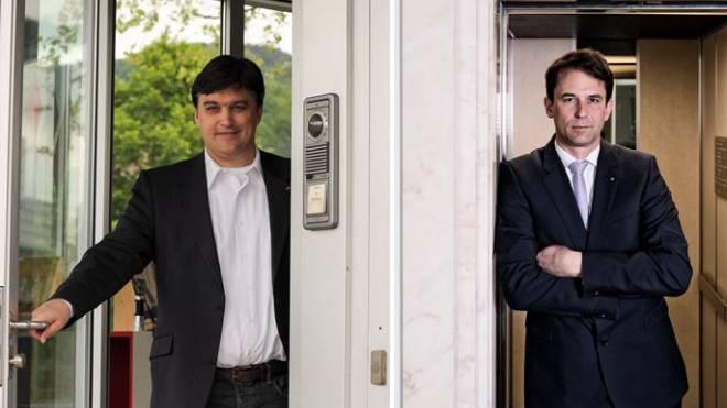 Balz Stückelberger (r.) kann entspannt ins Duell um die FDP-Ständeratskandidatur steigen – der Druck lastet auf Christoph Buser.   Foto: Martin Töngi/Roland Schmid