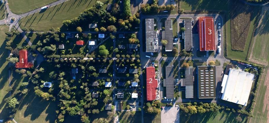 Die Siedlung im Bata-Park von oben: Das Clubhaus, die Wohnhäuser und Fabrikhallen wurden und werden nach und nach renoviert und ausgebaut.