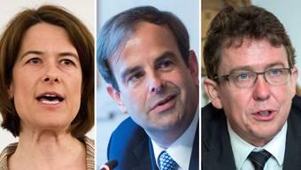 Wollen Parteipräsident werden: Petra Gössi (FDP), Gerhard Pfister(CVP), Albert Rösti (SVP)