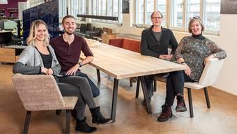 Die Schreinerei Spicher in Brugg kommt in neue Hände (von links):Rebecca Ringger, Samuel Blaser, Markus Spicher, Silvia Spicher
