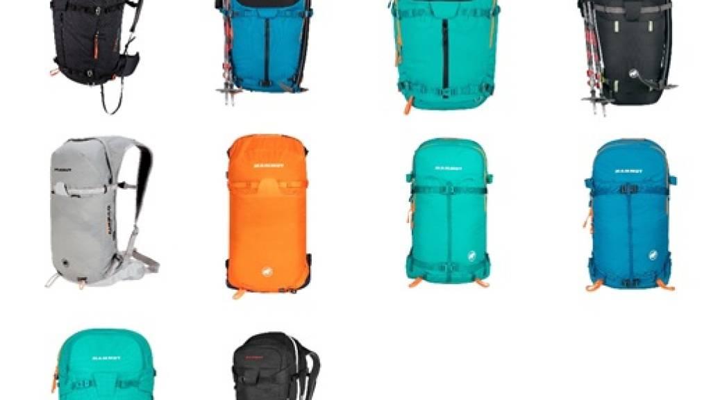 Bilder der zu kontrollierenden Produkte: Das mögliche Sicherheitsproblem betrifft die Mammut Lawinenairbags der Generation 3.0 mit dem Removable Airbag System (RAS) der Wintersaison 20/21 mit neon-orangem Auslösegriff.