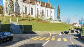 Auf diesem Fussgängerstreifen unterhalb der Kirche Villmergen kam es am Morgen des 18. November 2015 zum tödlichen Unfall.