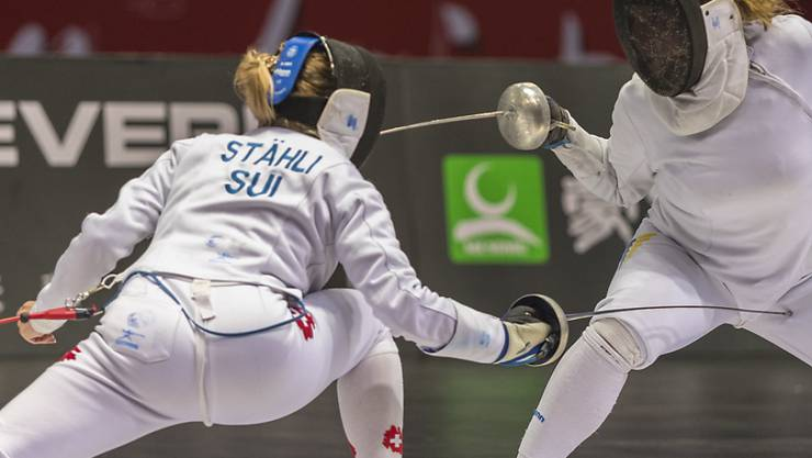Das Schweizer Frauendegen-Team mit Laura Stähli (links) scheiterte an den EM in Düsseldorf bereits in den Achtelfinals