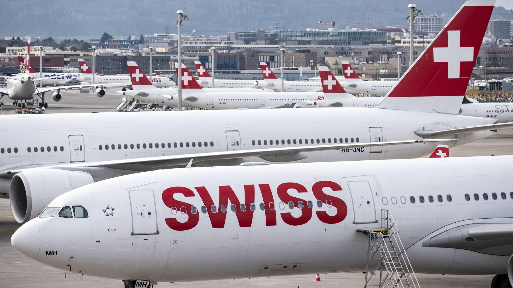 Grounding der Swiss-Flugzeuge am Flughafen Zürich.