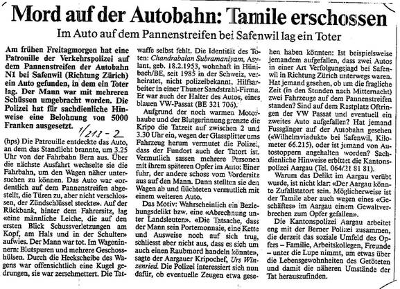 Zeitungsausschnitt zum Tamilenmord im Jahr 1994