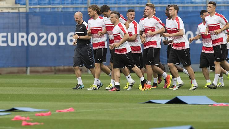 Die Schweizer Nationalmannschaft absolvierte nach der Ankunft in Montpellier ihr erstes Training auf französischem Boden