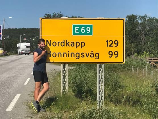 Hier waren es noch 129 Kilometer bis zum Nordkap