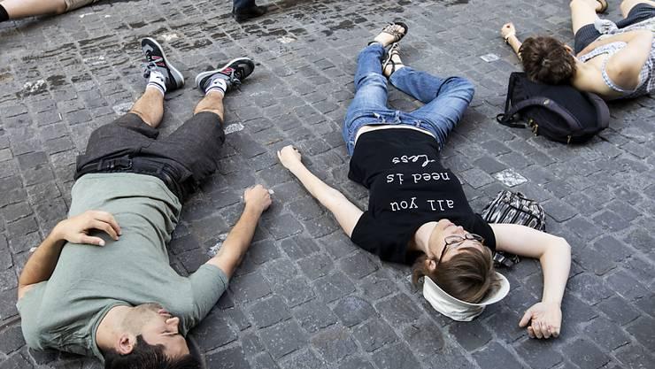 Demonstration vor dem Regierungsgebäude in Luzern anlässlich der Klima-Sondersession des Luzerner Kantonsrats.