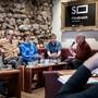 Film-Brunch in der Barock Café Bar mit Micha Lewinsky (Regie) und die Schauspielerinnen und Schauspielen Miriam Stein, Philippe Graber und Michael Maertens.