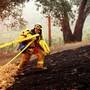 Ein Feuerwehrmann im Einsatz gegen das «Glass Fire», das in einem Weingut brennt. Foto: Noah Berger/AP/dpa