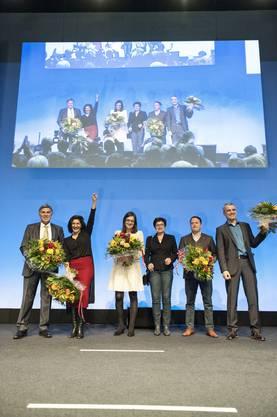 Überraschung bei den Nationalratswahlen: Sibel Arslan vom Grünen Bündnis (2.v.l.) schnappt sich den Sitz von Markus Lehmann (CVP). Ebenfalls neu in den Nationalrat gewählt: Christoph Eymann (LDP, links)