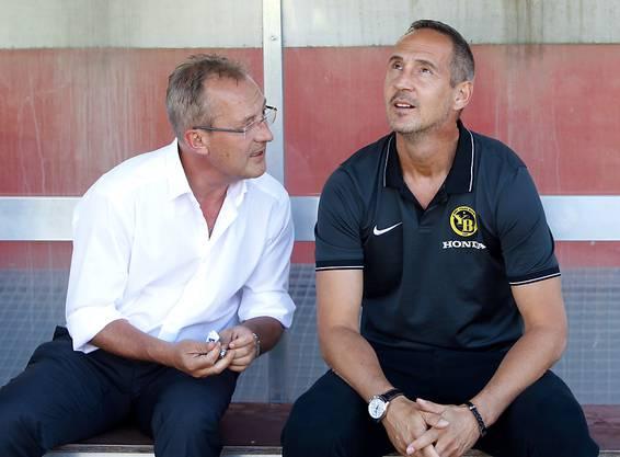 Wollten 2016 gemeinsam in die Champions League: Fredy Bickel und der damalige YB-Trainer Adi Hütter, der heute in Frankfurt an der Seitenlinie steht.