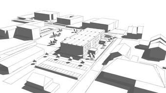 So soll das neue Primarschulhaus (Mitte) auf dem heutigen Sportplatz Langwies einmal aussehen.Visualisierung/zvg