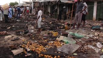 Marktplatz in Maiduguri (Nordosten Nigerias) nach Bombenexplosion