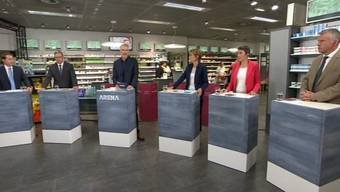 Thomas Aeschi (SVP), Josef Dittli (FDP), Moderator Sandro Brotz, Ruth Humbel (CVP), Barbara Gysi (SP) und Lorenz Hess (BDP). Nicht im Bild: Martin Bäumle (GLP) und Irène Kälin (Grüne).