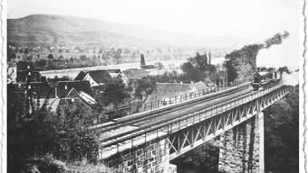 Bahnbau von 1870 in Mumpf.