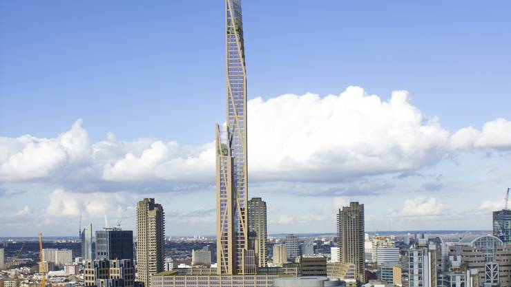 Es könnte der Baustoff der Zukunft sein. Billiger, nachhaltiger und erst noch ganz schön. Derzeit entstehen einige Holzhochhäuser, auch in der Schweiz. Im Bild der «Oakwood Tower», der in London geplant ist.